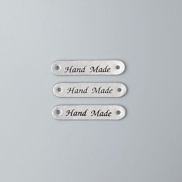 Нашивка кожаная 50×10 mm Hand Made серебристая