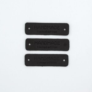 Нашивка кожаная 55×15 mm HANDMADE limited edition черная