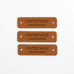 Нашивка кожаная 55×15 mm HANDMADE limited edition коричневая