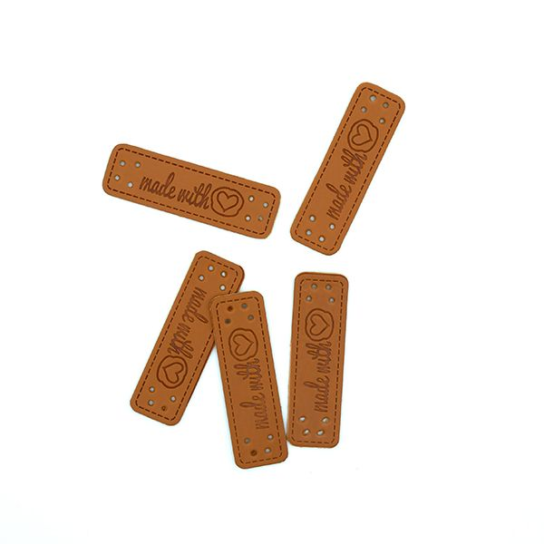 Нашивка кожаная 55×15 mm Made with Love коричневая