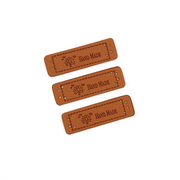 Нашивка кожаная 55×15 mm Hand Made Дерево коричневая