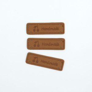 Нашивка кожаная 55×15 mm Hand Made Вишня коричневая