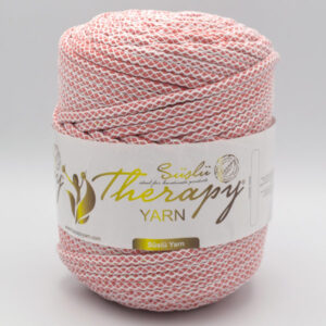 Трикотажный шнур для вязания с люрексом Therapy Yarn Pasakli коралловый