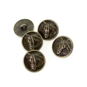 Пуговица металлическая круглая 15 мм лошадь античная бронза