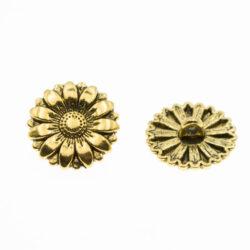 Пуговица металлическая 18 мм цветок золото