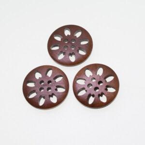 Пуговица деревянная круглая 25 мм кофейная с резьбой Цветок
