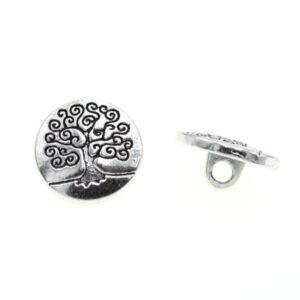 Пуговица металлическая круглая 15 мм дерево античное серебро