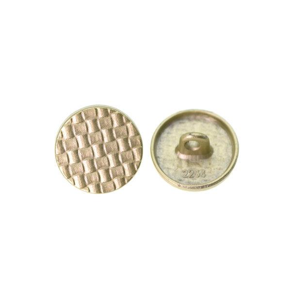 Пуговица металлическая круглая 15 мм клетка золото