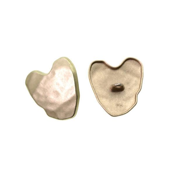 Пуговица металлическая декоративная 25×26 мм сердце светлое золото