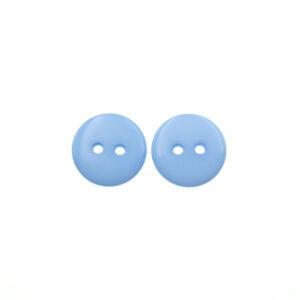 Пуговица пластиковая 15 мм голубая с двумя отверстиями