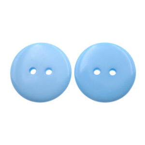 Пуговица пластиковая 23 мм голубая с двумя отверстиями