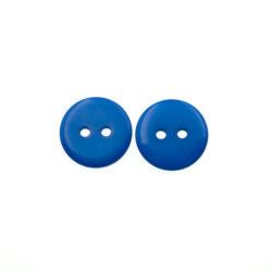 Пуговица пластиковая 15 мм сине-голубая с двумя отверстиями