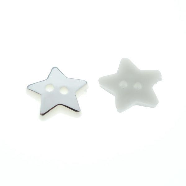 Пуговица пластиковая 12 мм Звезда серебряная
