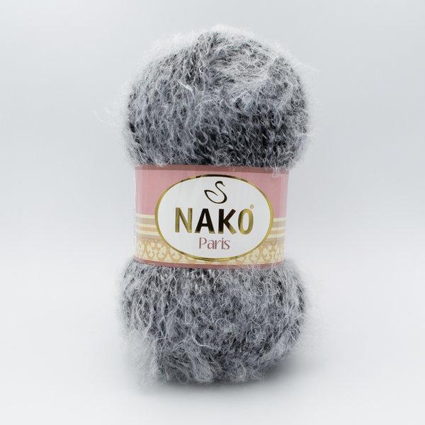 Пряжа Nako Paris 21304 черный с белым ворсом