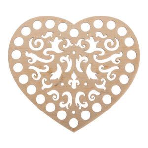 Донышко из фанеры ажурное Сердце 15×17 см
