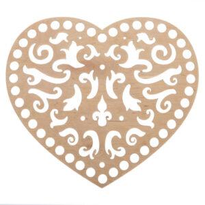 Донышко из фанеры ажурное Сердце 20×22.5 см