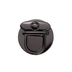 Замок для сумки клавишный 5 см круглый черный металлик