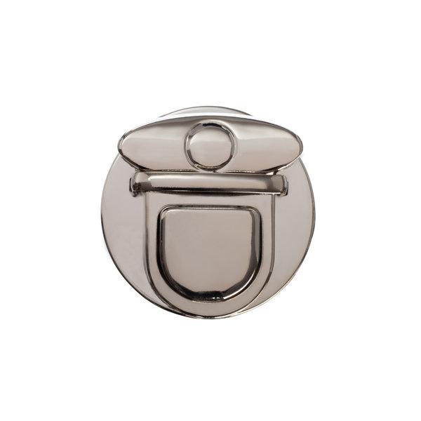 Замок для сумки клавишный 5 см круглый серебро