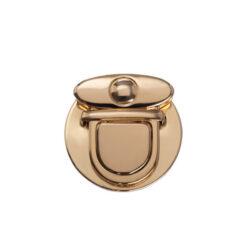 Замок для сумки клавишный 5 см круглый золото
