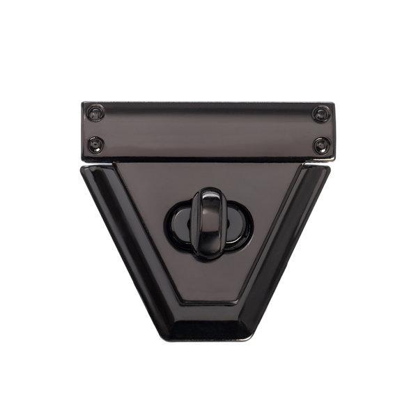 Замок для сумки поворотный 5 см трапеция черный металлик