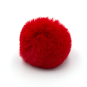 Помпон меховой 8 см красный
