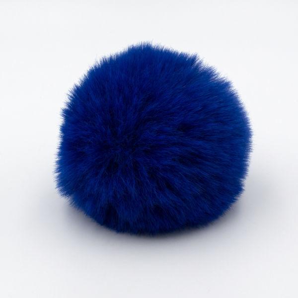 Помпон меховой 8 см синий электрик
