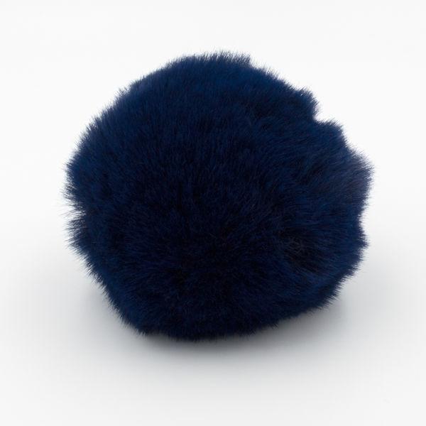 Помпон меховой 8 см темно-синий индиго