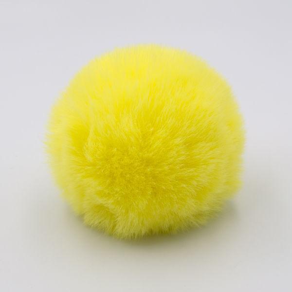 Помпон меховой 8 см желтый