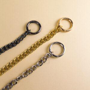 Цепь для сумки на кольцах-карабинах 110 см серебро