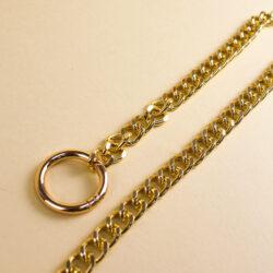 Цепь для сумки на кольцах-карабинах 110 см золото