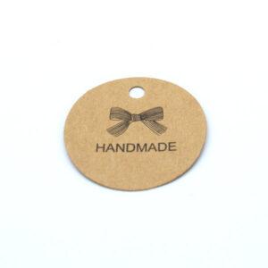 Бирка с крафт картона handmade круглая 44 мм