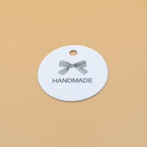 Бирка с крафт картона handmade белая 44 мм