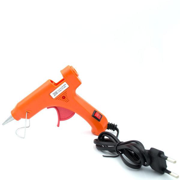 Клеевой пистолет маленький оранжевый 20 w под термоклей 7 мм