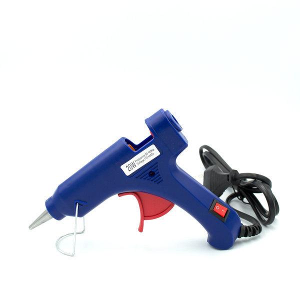 Клеевой пистолет маленький синий 20 w под термоклей 7 мм