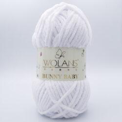 Пряжа плюшевая Wolans Bunny Baby 10001 белый