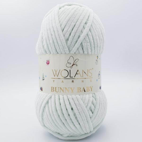 Пряжа плюшевая Wolans Bunny Baby 10003 светло-серый (мятный оттенок)