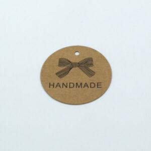 Бирка с крафт картона Handmade бант 40 mm