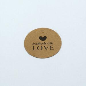 Бирка с крафт картона Handmade With LOVE 40 mm