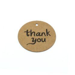 Бирка с крафт картона thank you 40 mm
