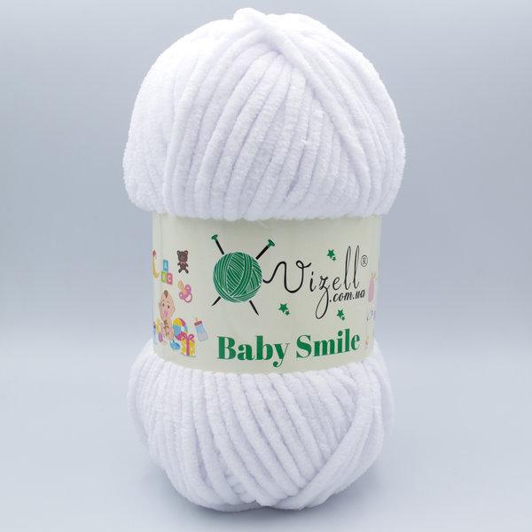 Пряжа плюшевая Vizell Baby Smile 001 белый