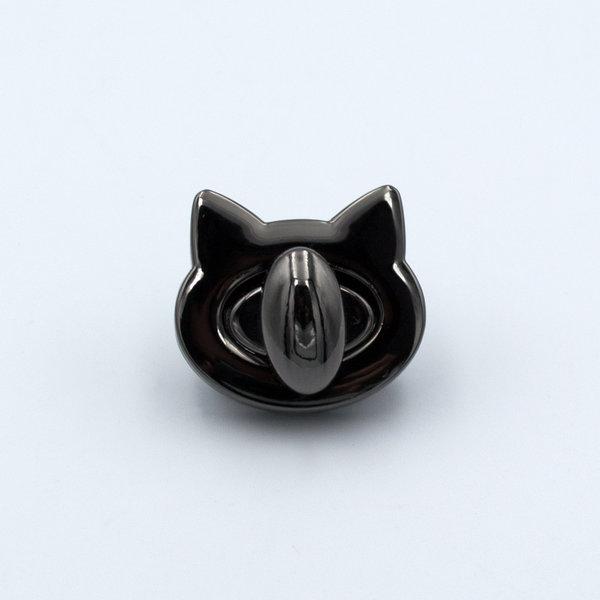 Замок для сумки поворотный на винтах 2.8×2.5 см Кошка Черный Металлик