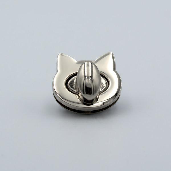 Замок для сумки поворотный на винтах 2.8×2.5 см Кошка Серебро