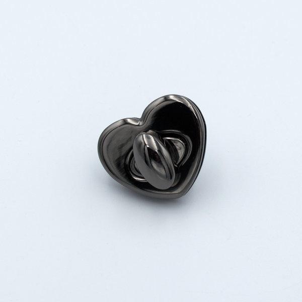 Замок для сумки поворотный на винтах 3×2.6 см Сердце Черный Металлик