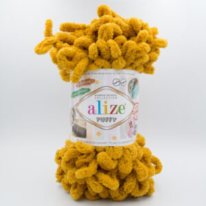 Пряжа плюшевая Alize Puffy 02 горчичный