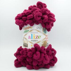Пряжа плюшевая Alize Puffy 107 вишневый бордо