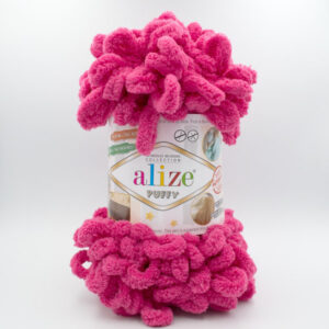 Пряжа плюшевая Alize Puffy 149 малина