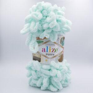 Пряжа плюшевая Alize Puffy 15 мята