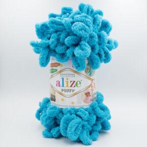 Пряжа плюшевая Alize Puffy 16 голубая бирюза