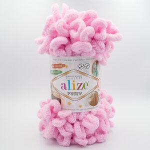 Пряжа плюшевая Alize Puffy 185 розовый