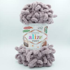 Пряжа плюшевая Alize Puffy 268 серо-сиреневый